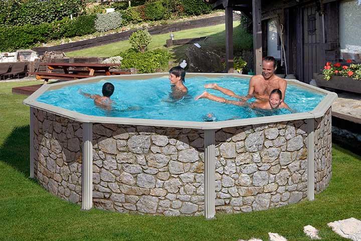 Feeling pool set rund 460 x 120 cm steinoptik feeling for Stahlwandbecken set rund