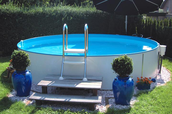 Rundpool prime 400 x 135 cm einzelpool apoolco for Poolfolie montieren