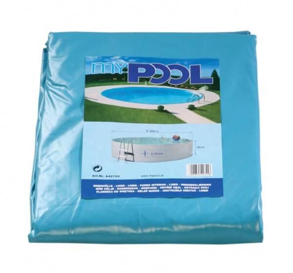 Poolfolie rund, 250 x 90 cm, 0,60 mm, mit Biese, blau