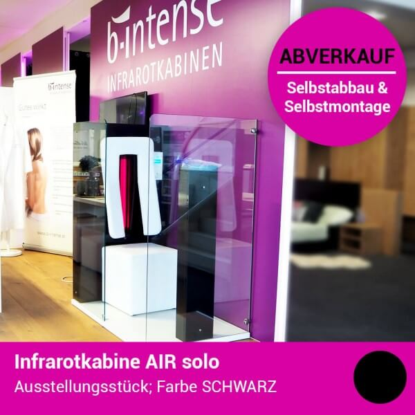 Infrarotkabine AIR solo, 125x78x143 cm, 1 Person, VORGÄNGERMODELL Schwarz Hochglanz