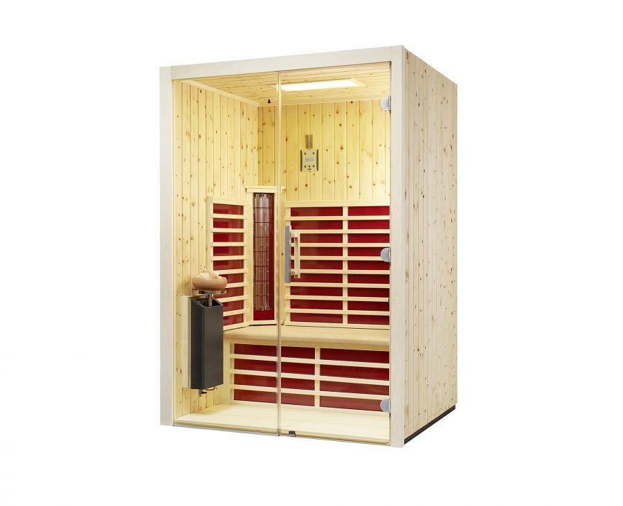 infrarotkabine triosol glas 145 zirbe 145x112x201 cm 2 personen infrarotkabinen mit. Black Bedroom Furniture Sets. Home Design Ideas