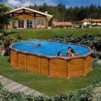 Feeling Pool Set 610 x 375 x 132 cm, Holzoptik