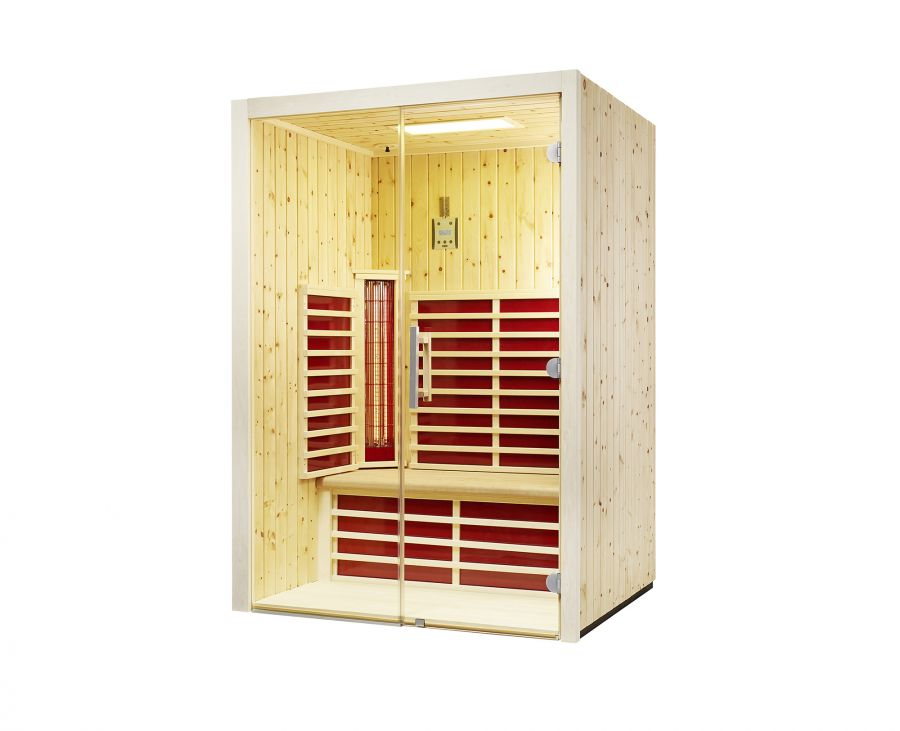 infrarotkabine fusion glas 145 zirbe 145x112x201 cm 2 personen infraworld artikel sofort. Black Bedroom Furniture Sets. Home Design Ideas