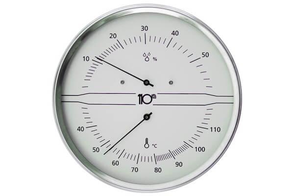 Thermo-Hygrometer Edelstahl, weiß