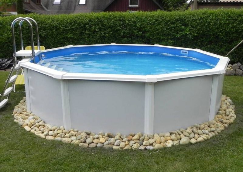 Rundpool feeling 460 x 120 cm grau komplettset for Swimmingpool abverkauf