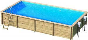 Holzpool Odyssea Rechteck, 600 x 300 x 133 cm, Komplettset