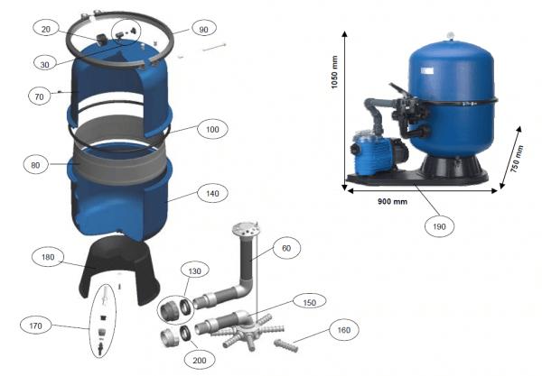 Filterunterteil für Filterkessel HP600