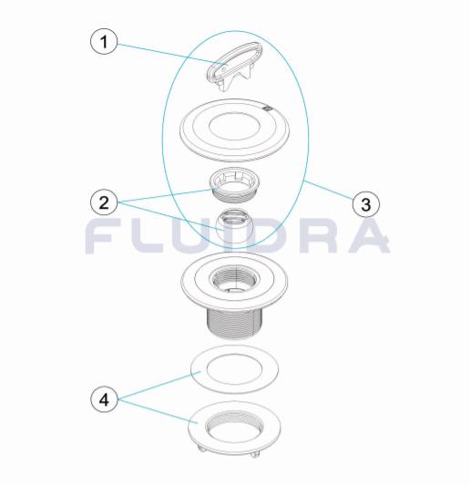 """Einlaufdüse Folie 2"""" mit Foliendichtflansch """"Weiß"""" u. Schlitzkugel Multiflow lt. DIN 56499CL090py"""