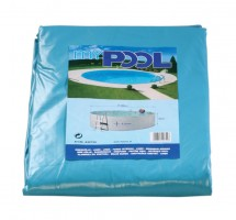 Poolfolie rund, 416/420 x 120 cm, 0,60 mm, mit Biese, blau