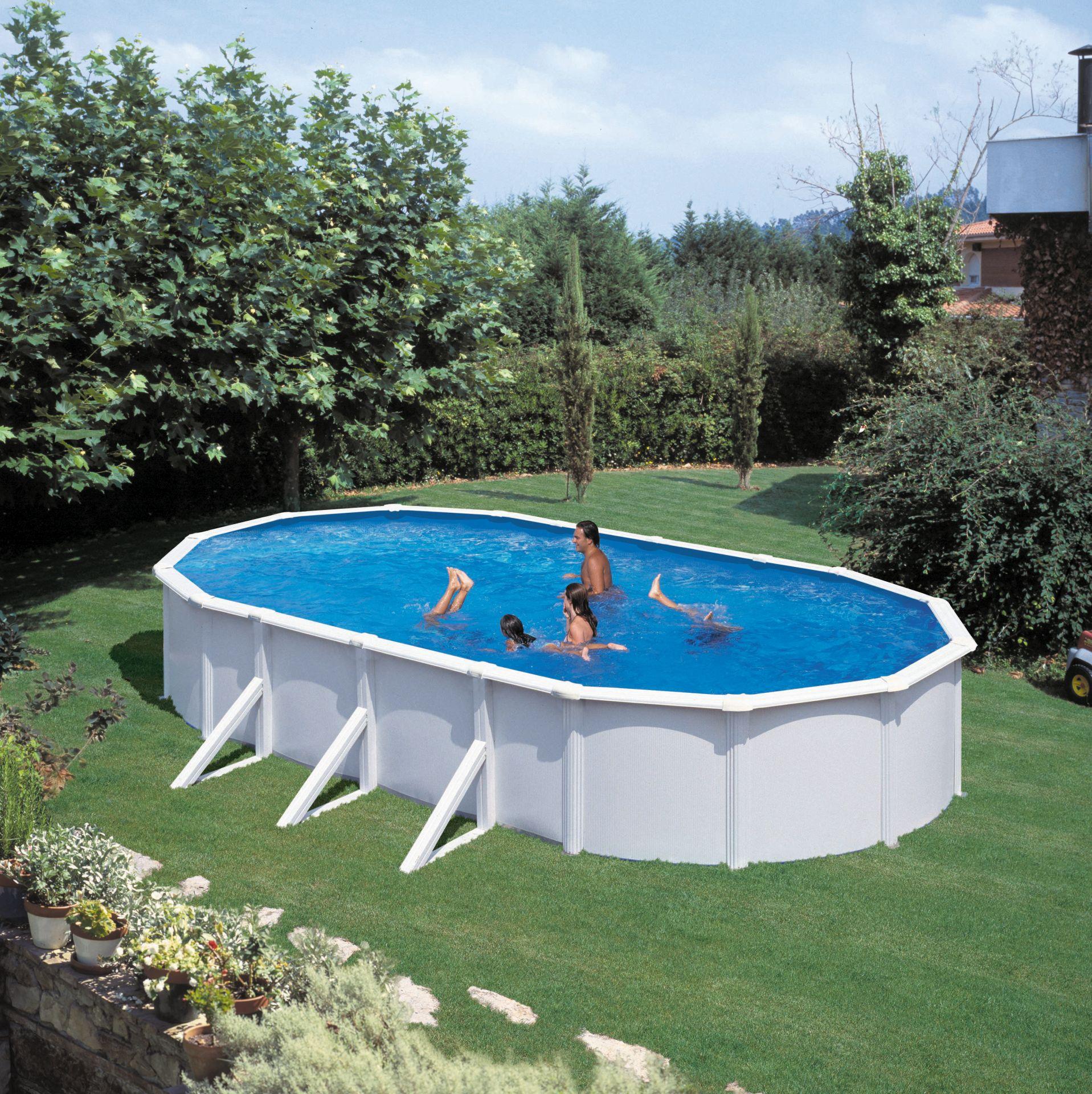 Ovalpool feeling 490 x 360 x 120 cm wei komplettset for Swimmingpool abverkauf