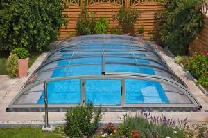 Schwimmbadüberdachung Flat Clear